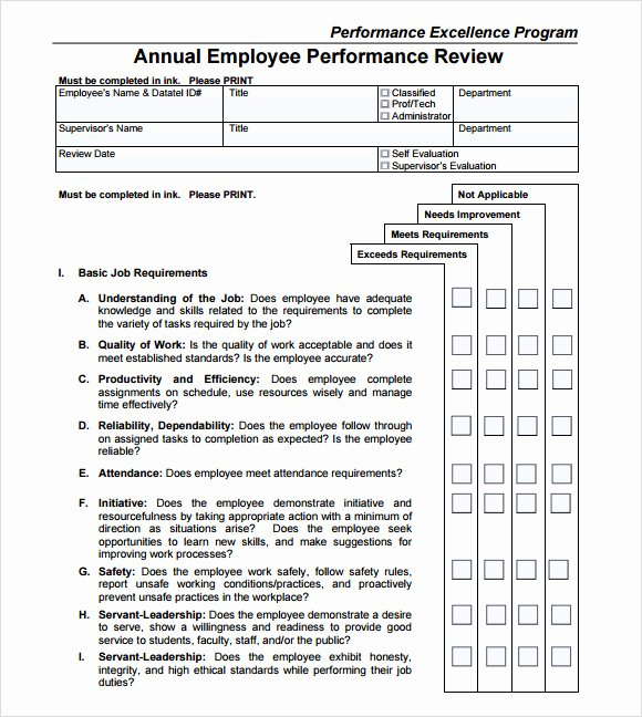 Performance Evaluation Template Word Elegant Performance Review Template 9 Download Free Documents