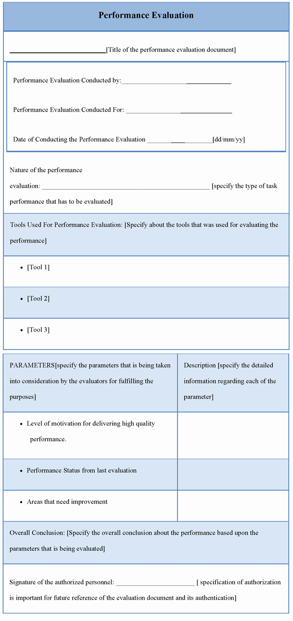 Performance Evaluation Template Word Fresh Evaluation Template for Performance Template Of