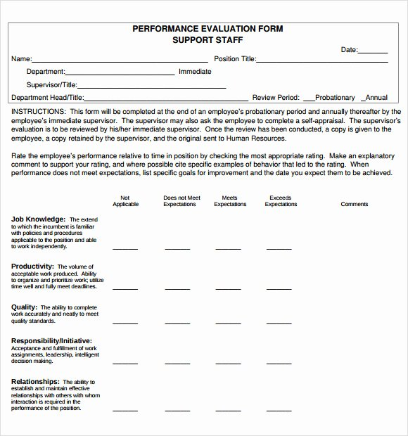 Performance Evaluation Template Word Inspirational Free 7 Performance Evaluation In Samples Templates Examples