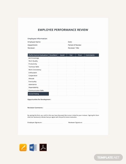 Performance Evaluation Template Word Lovely 11 Sample Performance Review Templates Pdf Doc Google