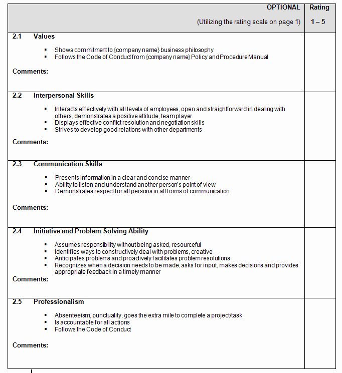 Performance Evaluation Template Word Lovely Performance Appraisal form Templates Word Excel Templates