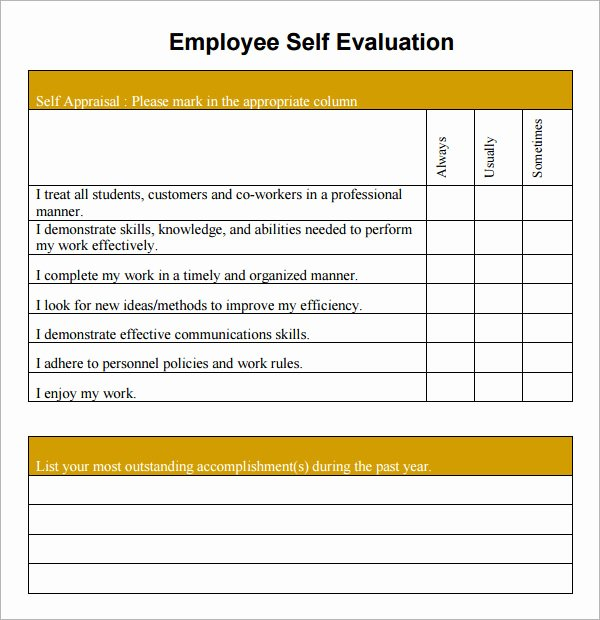 Performance Evaluation Template Word New Free Employee Self Evaluation forms Printable