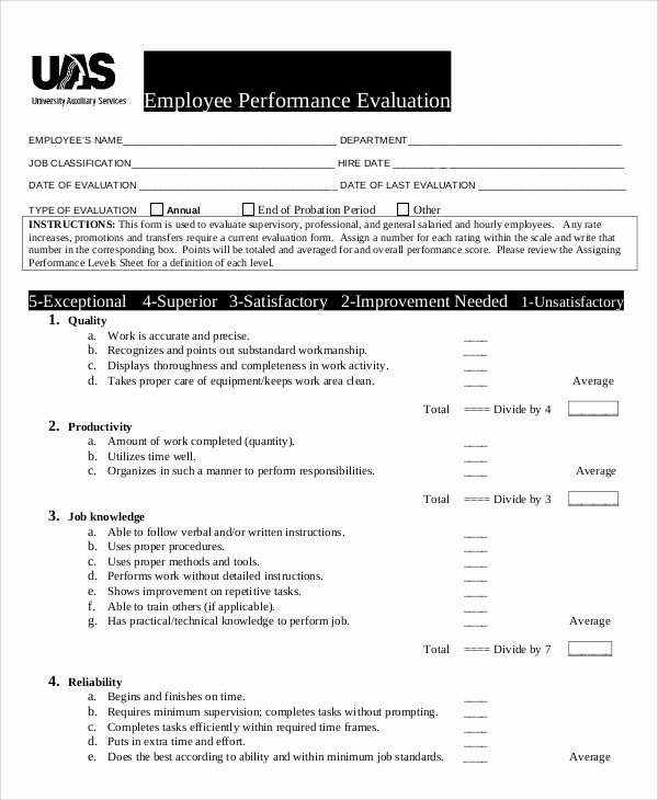 Performance Evaluation Template Word New Performance Evaluation Samples and Templates 7