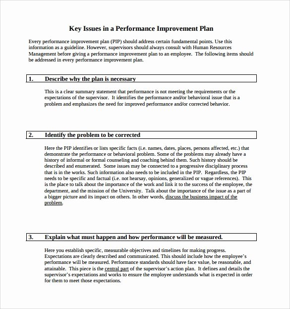 Performance Improvement Action Plan Template Awesome Performance Improvement Plan Template 9 Download