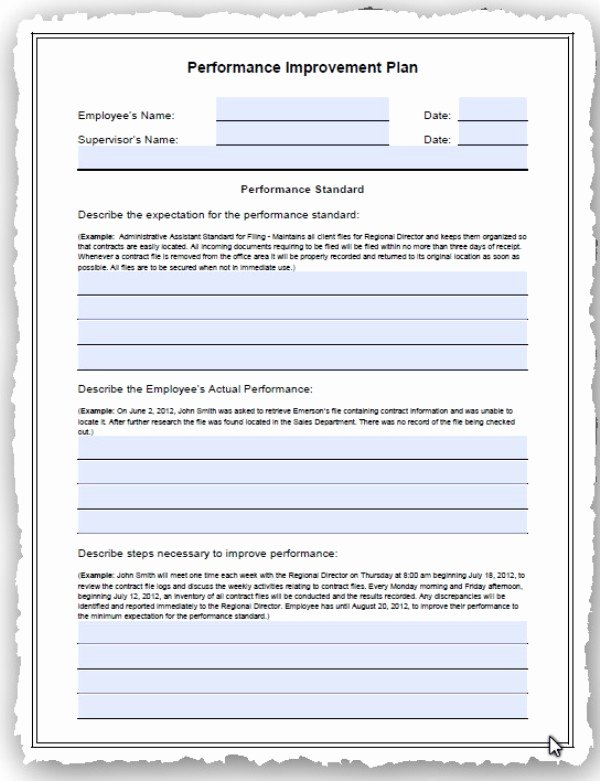 Performance Improvement Action Plan Template Lovely Human Resources Performance Improvement Plan Pip