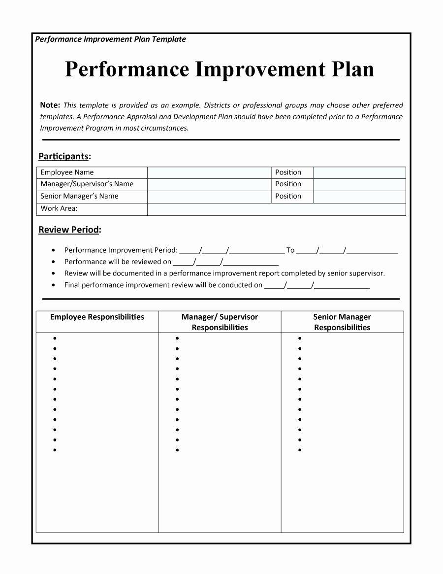 Performance Improvement Plan Template Excel Luxury 43 Free Performance Improvement Plan Templates & Examples