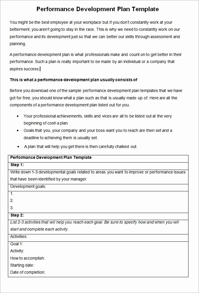 Performance Improvement Plan Template Word Awesome Performance Development Plan Template 10 Development