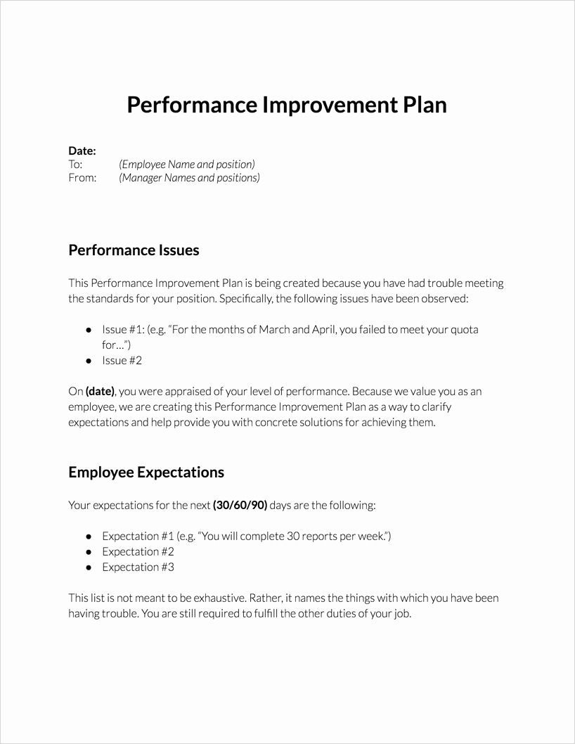Performance Improvement Plan Template Word Inspirational Performance Improvement Plan for Download