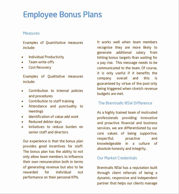 Performance Incentive Plan Template Awesome Sample Bonus Plan Template 7 Free Documents In Pdf