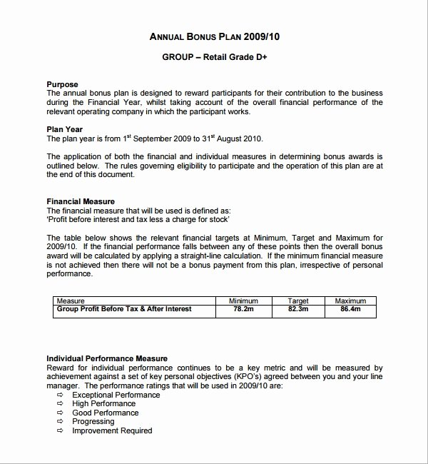 Performance Incentive Plan Template Inspirational Sample Bonus Plan Template 7 Free Documents In Pdf