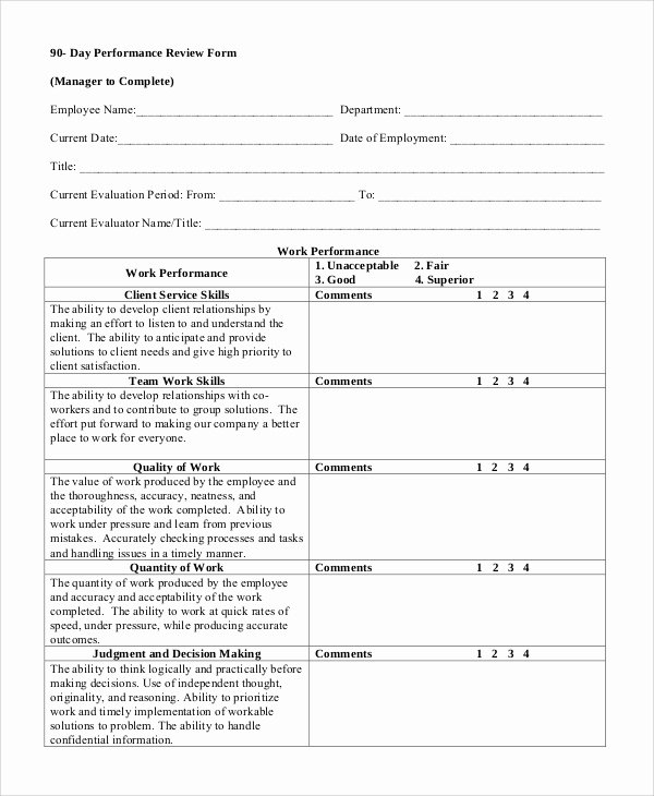 Performance Review form Template Awesome Sample Performance Review 7 Documents In Word Pdf