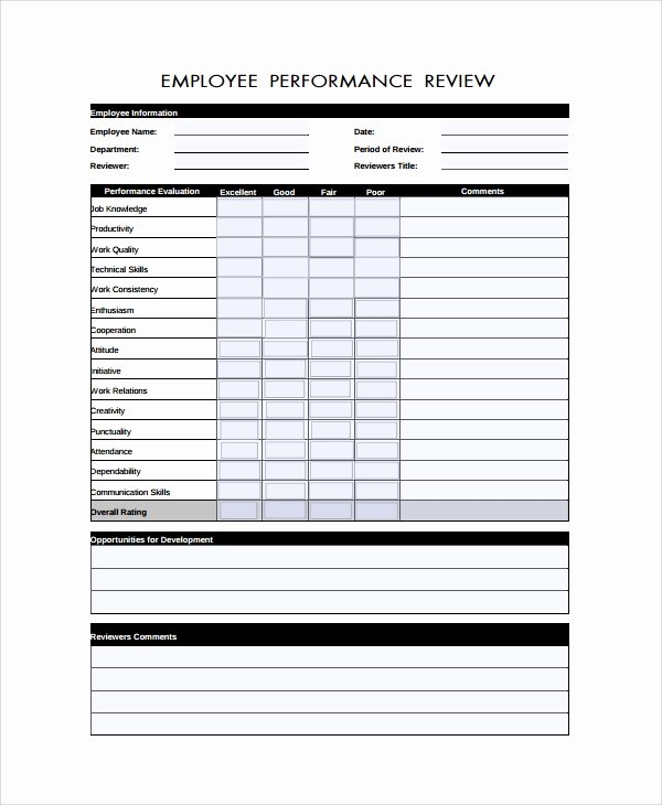 Performance Review form Template Best Of Sample Performance Review form Template 7 Free