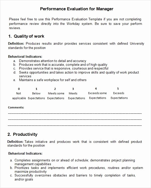 Performance Review form Template Lovely Free 9 Sample Performance Evaluation Templates In Pdf