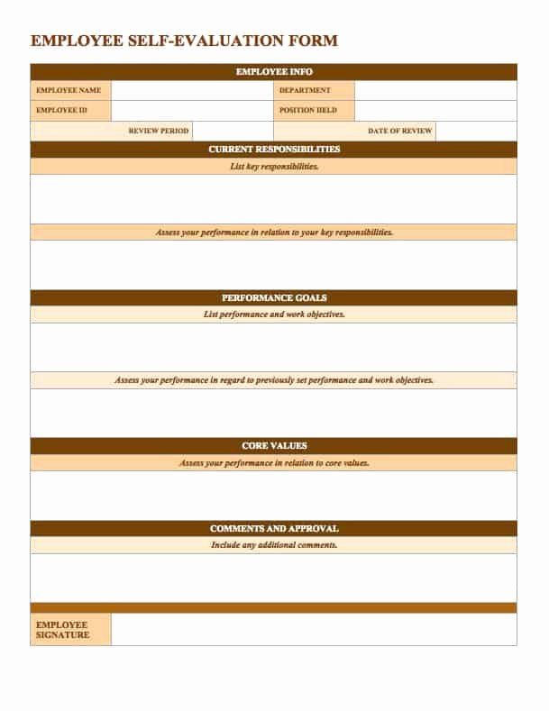 Performance Review form Template Lovely Free Employee Performance Review Templates