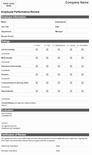 Performance Review form Template Luxury Employee Performance Evaluation form Template Sample
