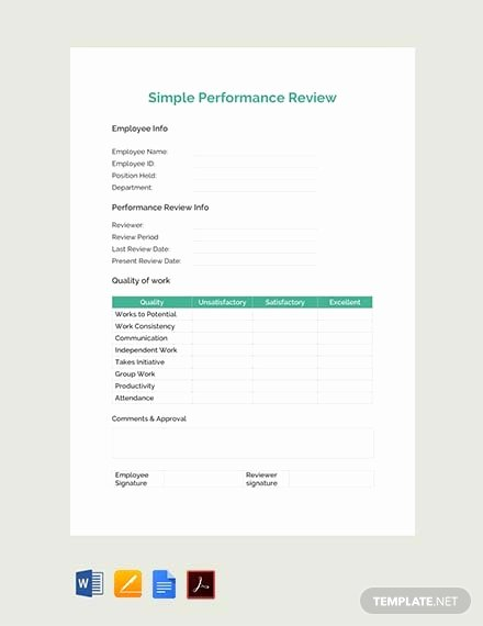Performance Review Template Free Luxury Free Simple Performance Review Template Pdf