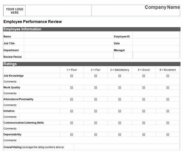 Performance Review Template Free Luxury Performance Review Template for Managers