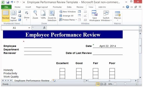 Performance Review Template Free Unique Free Performance Review Template form for Word 2007