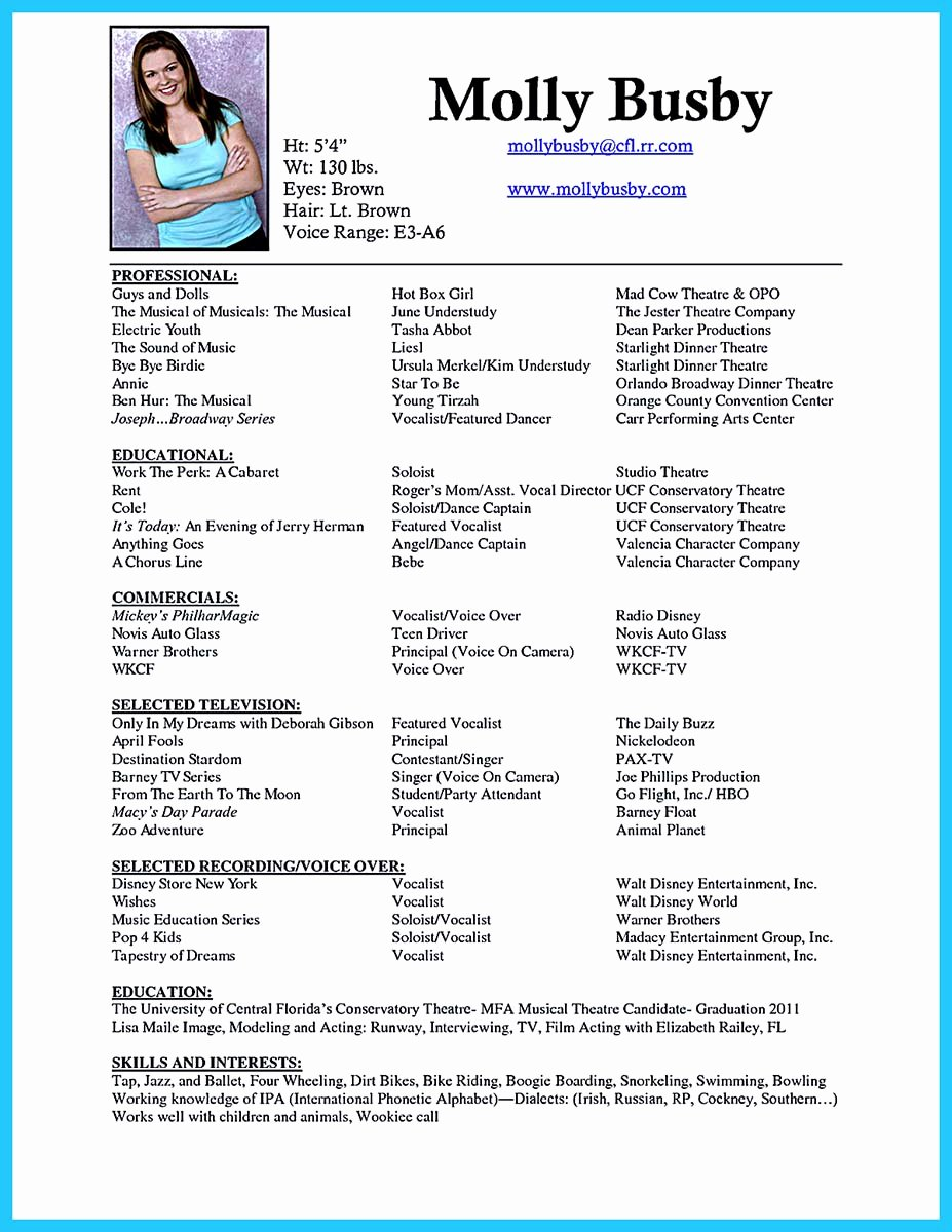 Performing Arts Resume Template Beautiful the Best and Impressive Dance Resume Examples Collections