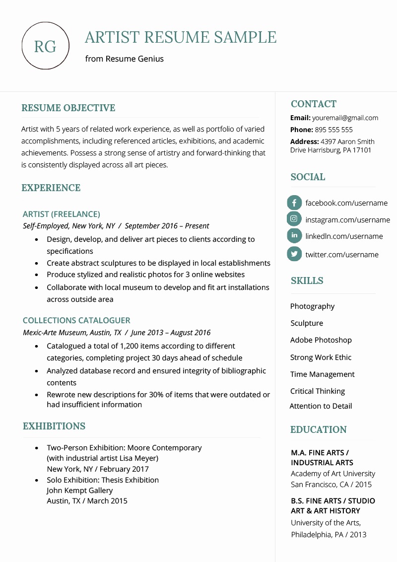 Performing Arts Resume Template Best Of Artist Resume Sample & Writing Guide