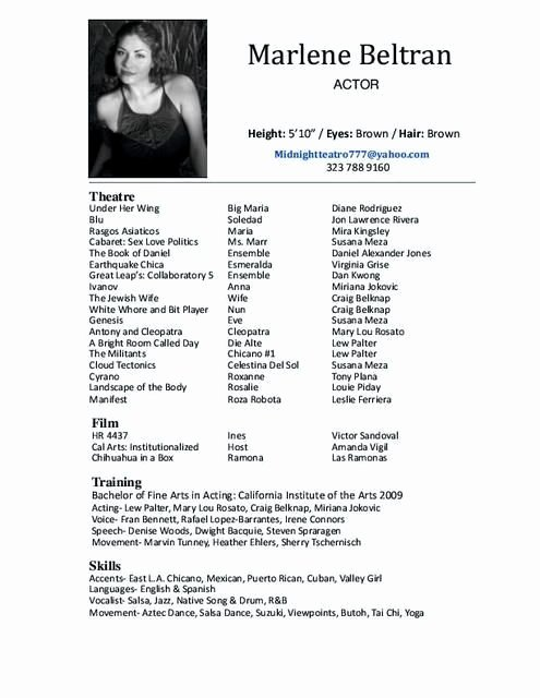 Performing Arts Resume Template Luxury A Good Example Of A Woman S Acting Resume