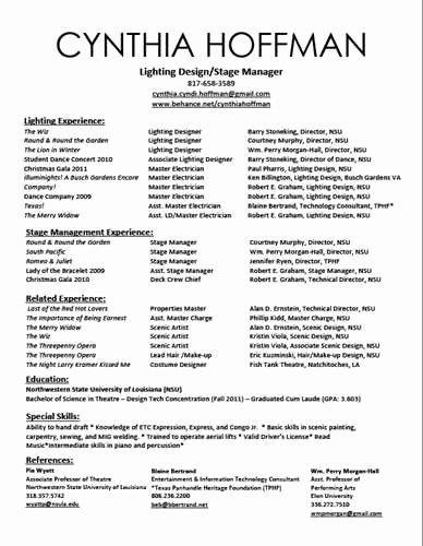 Performing Arts Resume Template Unique Performing Arts Resume Template