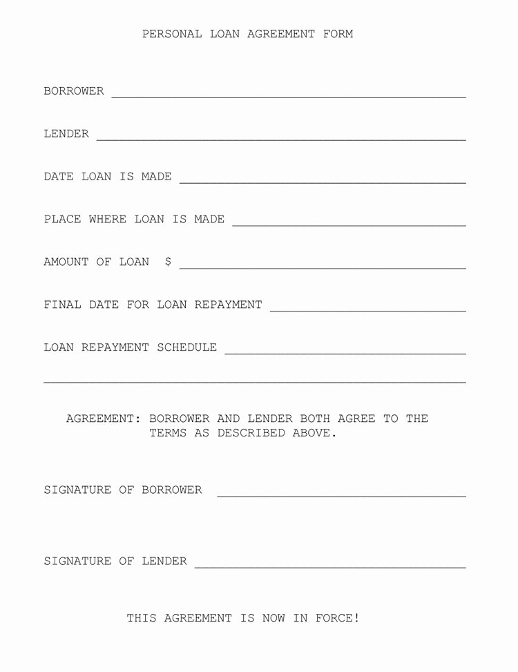 Personal Loan form Template Beautiful 45 Loan Agreement Templates & Samples Write Perfect