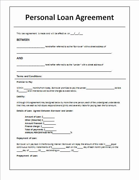 Personal Loan form Template Elegant Document Templates Loan Agreement Template In Word
