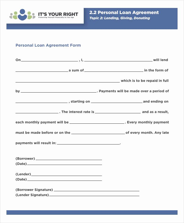 Personal Loan form Template Elegant Free 35 Loan Agreement forms