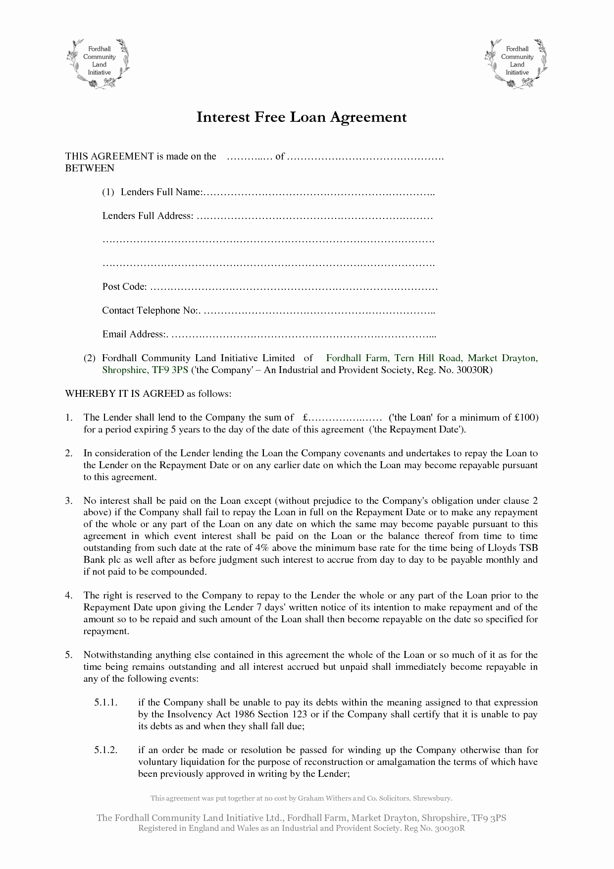Personal Loan form Template Inspirational Free Printable Loan Agreement Examples for Your