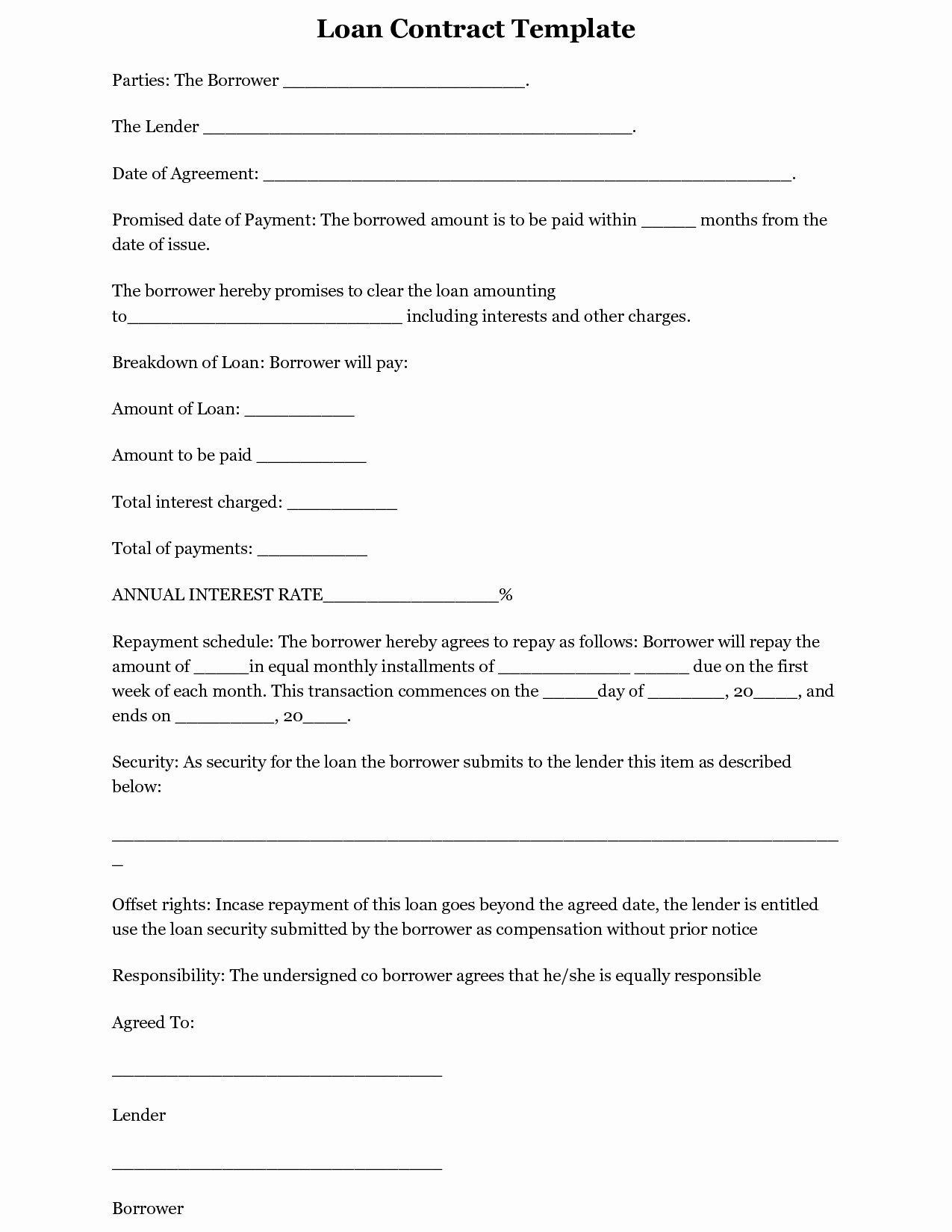 Personal Loan form Template Inspirational Free Printable Loan Template form Generic