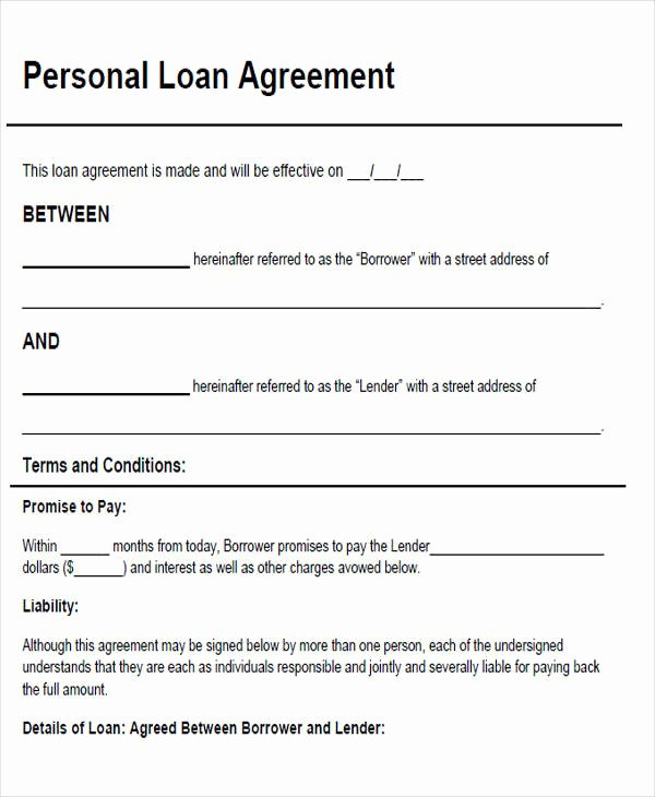 Personal Loan form Template Luxury Agreement form Sample