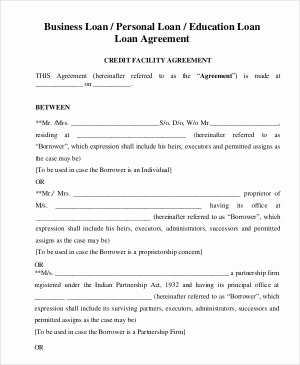 Personal Loan form Template New Personal Loan Agreement Template