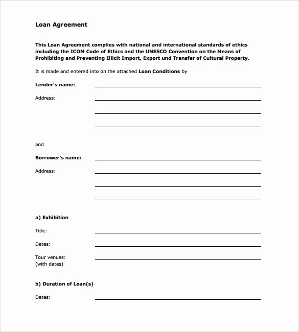 Personal Loan form Template Unique Free 12 Sample Standard Loan Agreement Templates In