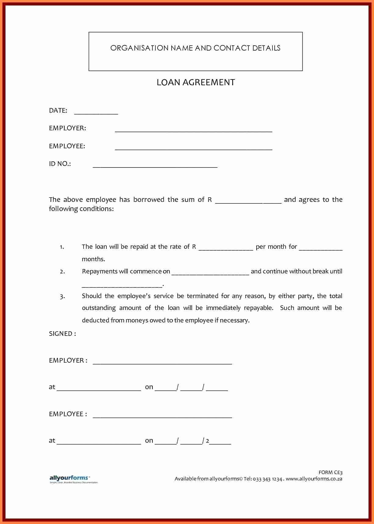 Personal Loan forms Template Awesome 6 Sample Personal Loan Agreement Template
