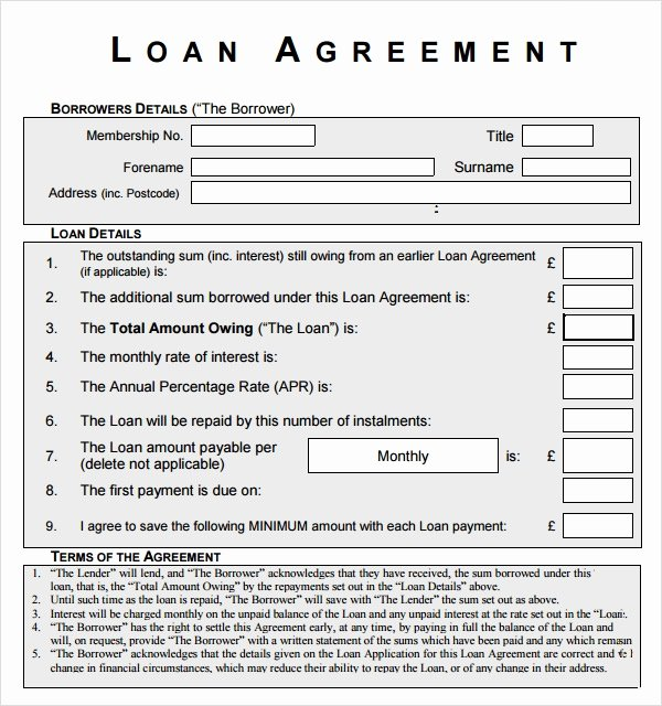 Personal Loan forms Template Awesome Free 12 Sample Standard Loan Agreement Templates In
