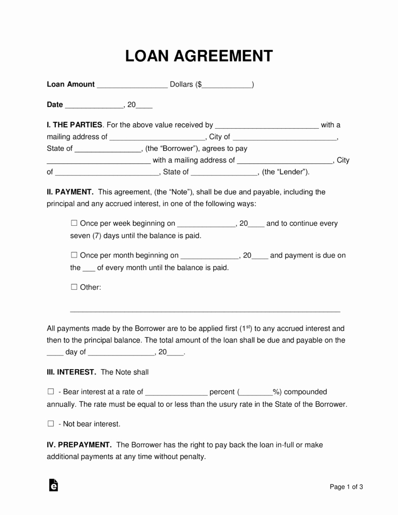 Personal Loan forms Template Best Of Free Loan Agreement Templates Pdf Word