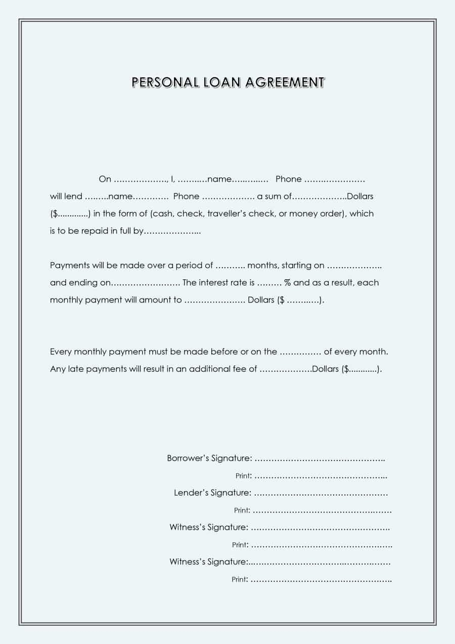 Personal Loan forms Template Elegant 40 Free Loan Agreement Templates [word & Pdf] Template Lab