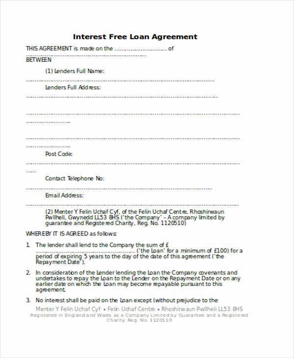 Personal Loan forms Template Elegant Free 56 Loan Agreement form In Template Pdf