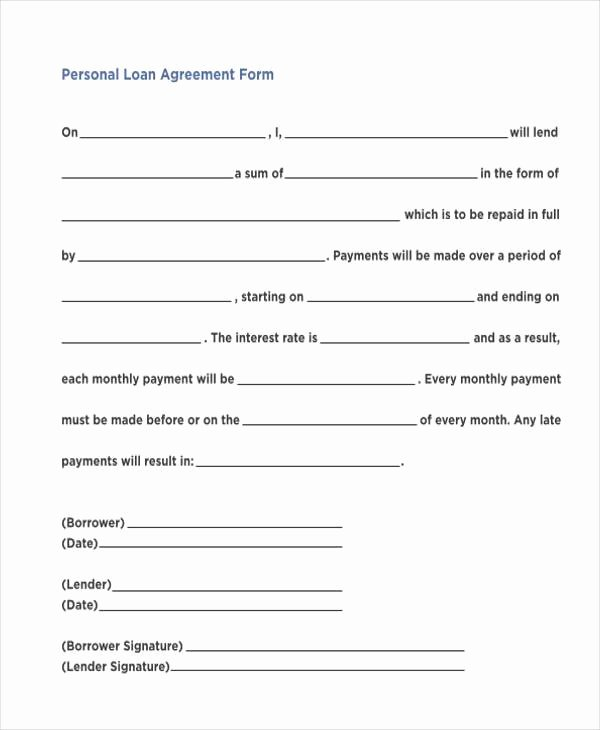 Personal Loan forms Template Fresh Free 7 Personal Loan Agreement form Samples In Sample