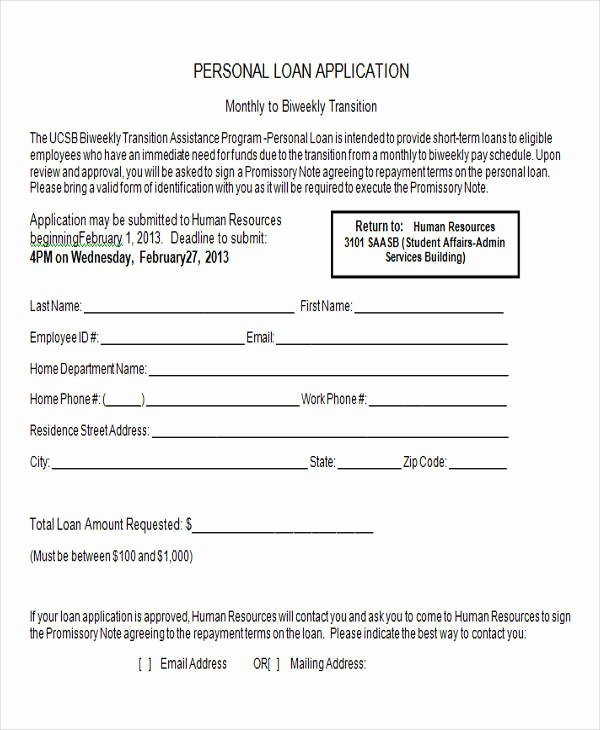 Personal Loan forms Template New 43 Sample Application form Templates In Doc