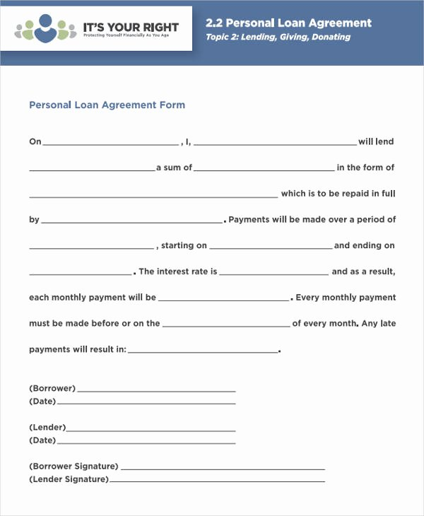 Personal Loan forms Template New 44 Agreement form Samples Word Pdf