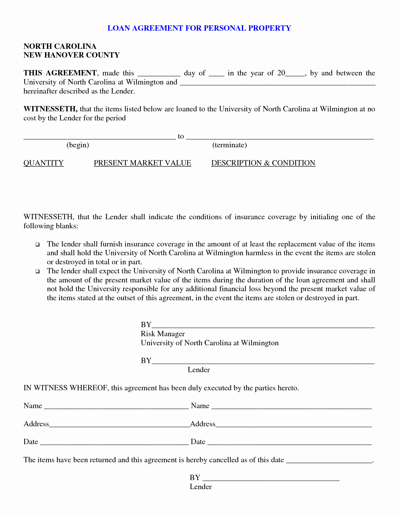 Personal Loan forms Template New Free Printable Personal Loan Contract form Generic