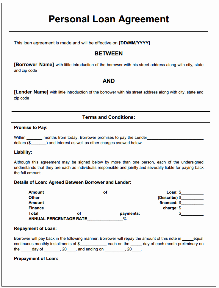 Personal Loan forms Template New Personal Loan Agreement