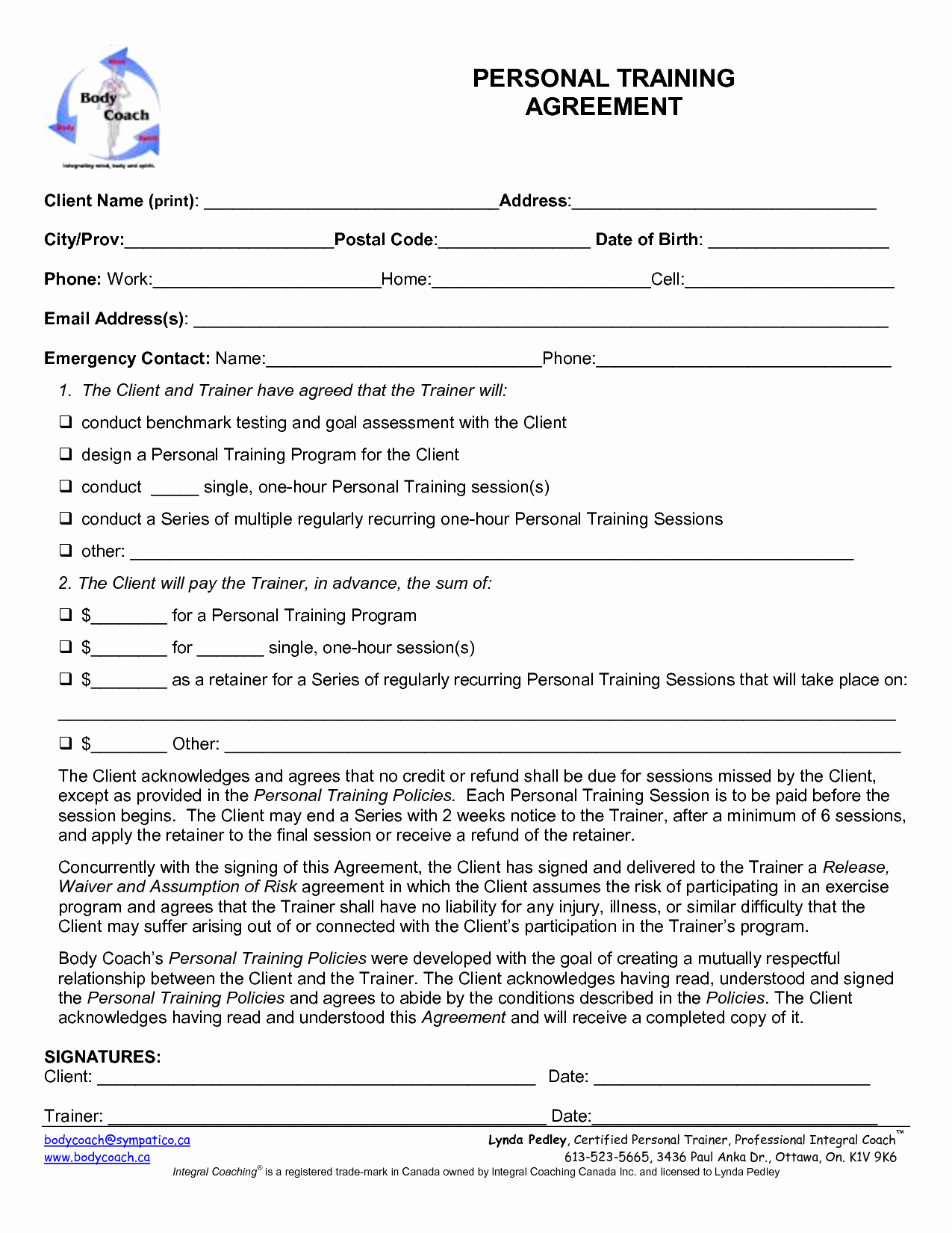 Personal Trainer Waiver form Template Awesome Personal Training Contract Template Free Printable Documents