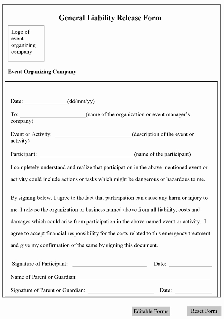 Personal Trainer Waiver form Template Awesome Printable Sample Release and Waiver Liability Agreement