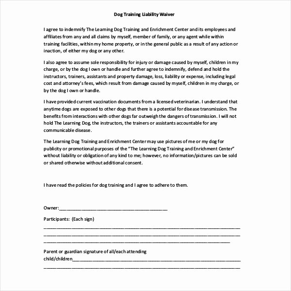 Personal Trainer Waiver form Template Beautiful Free 10 Sample Liability Release form In Pdf