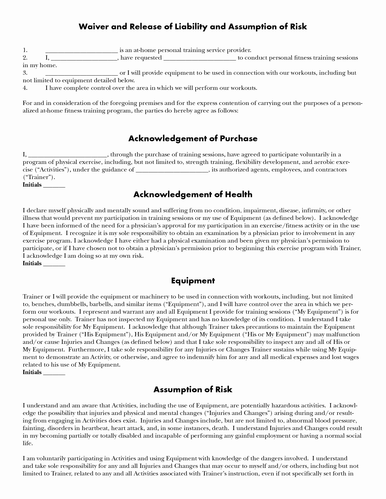 Personal Trainer Waiver form Template Inspirational Personal Training Personal Training Waiver
