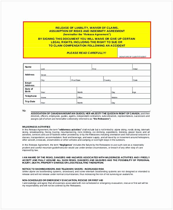 Personal Trainer Waiver form Template Lovely Personal Trainer Liability Waiver