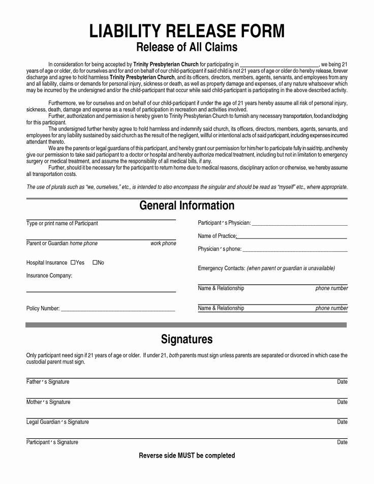 Personal Trainer Waiver form Template Lovely Printable Sample Liability Release form Template form